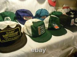 16 Vintage Snapback Trucker Hats All MADE IN THE USA 80s Tractors Farming Patch