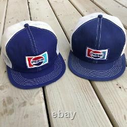 2 Vintage K-Brand Pepsi Snapback Hat Cap Trucker Pop Soda Cola Pair Lot Logo 70s