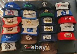 All USA Lot 0f 24 Vintage Mesh Snapback Flat Bill Trucker Hat Cap No Damage CAT