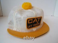 CAT Lift Trucks Patch Hat VTG Full Mesh Short Bill Pom Pom Snapback Trucker Cap