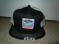 FORD NEW HOLLAND Vtg Patch Logo Adjustable Snapback Mesh Trucker Cap Hat K-Brand