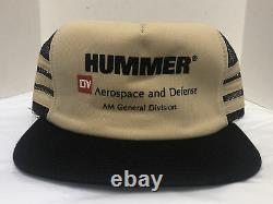 Hummer AM General 3 Three Stripe Mesh Foam Snapback Trucker cap Hat Made USA vtg