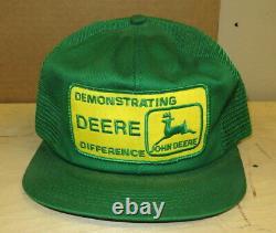 John Deere 1980's Green PATCH Snapback Trucker's Mesh Hat Cap ORIGINAL Demonstra