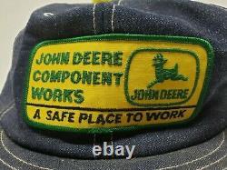 John Deere Component Works Louisville KY Mfg Denim Truckers Snapback Cap Hat Pom