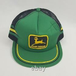 John Deere Machinery Snapback Vintage Farm Hat Green Mesh Back Trucker Cap