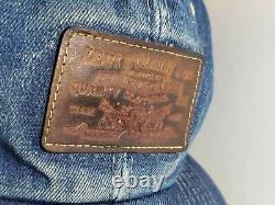Levis Denim Trucker's Hat Cap Dark Leather Patch Orange Tab Snapback vtg rare