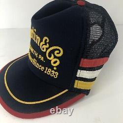 Martin & Co Guitars Rare Vintage MADE IN USA 3 STRIPE Trucker Hat Cap Snapback