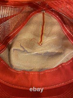 NASCAR VTG Red Mesh 3 Stripe SnapBack Trucker Hat Cap RARE Made In USA. TN