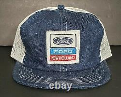 NWOT Vintage Ford New Holland Denim Snapback Trucker Hat Cap 70s Rare K Products