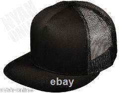 New Black Trucker Cap Plain Mesh Baseball Snapback Fitted Flat Peak Hat