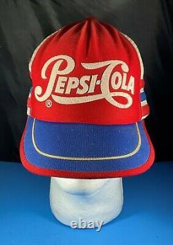 Pepsi Cola Trucker's Hat Cap Red White Blue 3 Stripe Made in USA Vintage Retro