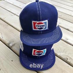 RARE Vintage K Brand Producs Pepsi Cola Mesh Foam Trucker Hat Cap Lot 70s Snap