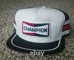 Rare Champion Snapback Trucker Hat 3 Stripe Mesh Patch Cap Swingster Racing USA