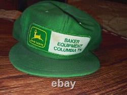 Rare VINTAGE JOHN DEERE baker equip. PATCH SNAPBACK TRUCKER HAT / CAP LOUISVILLE