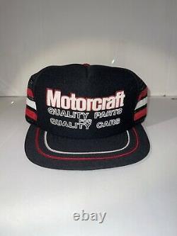 Rare Vintage Black Motorcraft 3 Stripe Trucker Hat Snapback Cap Made US Flawless