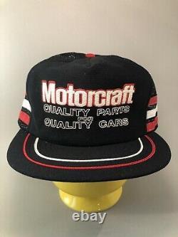 Rare Vintage Black Motorcraft 3 Stripe Trucker Hat Snapback Cap Made USA READ