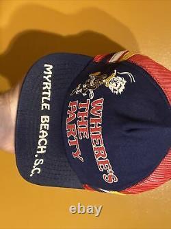 Rare Vintage Daffy Duck Myrtle Beach 3 Stripe Trucker Hat Snapback Cap Made USA