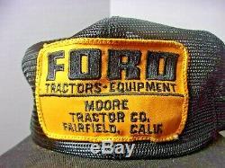 Rare Vintage Ford Tractors Moore Co. Fairfield CA Farm Trucker Hat Cap On Sale