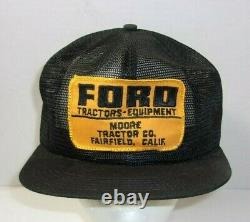 Rare! Vintage Ford Tractors Moore Co. Fairfield CA Farm Trucker Hat Cap wow