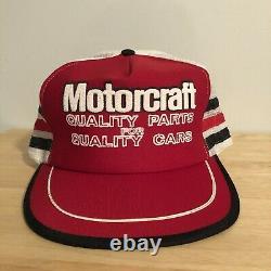 Rare Vintage Motorcraft 3 Stripe Trucker Hat Snapback Cap Made in USA NICE