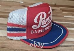 Rare Vintage PEPSI-COLA Bainbridge, Ga 3 Stripe Snapback Trucker Hat Cap