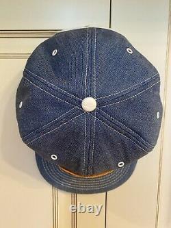 VINTAGE 80s 90s JOHN DEERE DENIM Trucker HAT CAP Made In USA- Farm patch- NOS