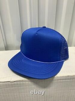 VINTAGE BLANK Foam Mesh Snapback Trucker Cap Hat LOT OF 100 Civic Deadstock Blue