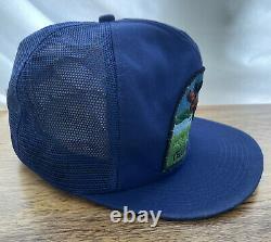 VTG 1980s Yellowstone BIG PATCH USA K Brand Products Snapback Trucker HAT Cap