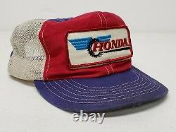 VTG 70'S HONDA Mesh Snapback Trucker's Hat / Cap Motocross PATCH