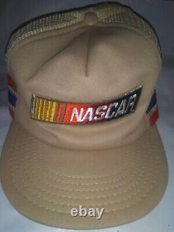 VTG 80s NASCAR 3 Stripe Nascar Patch Snapback Mesh Hat Trucker Cap Made in USA