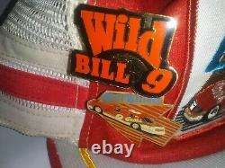 VTG Bill Elliott 3 Stripe Patch Snapback Trucker Hat Autograph Cap USA Coors Pin
