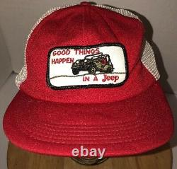 VTG GOOD THINGS HAPPEN IN A JEEP 70s 80s USA Red White Trucker Hat Cap Snapback