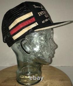 VTG INTERCOURSE CLUB SEX 70s 80s USA 3 Side Stripes Trucker Hat Cap Snapback WOW