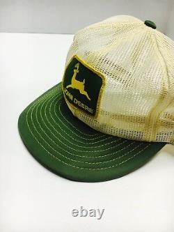 VTG JOHN DEERE 70s 80s USA LOUISVILLE MFG CO Trucker Hat Cap Snapback All Mesh