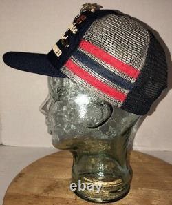 VTG MARRIAGE 80s USA 3 SIDE STRIPES BARS Tri-Color Trucker Hat Cap Snapback PINS