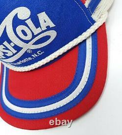 VTG PEPSI COLA 3 Three Stripe Snapback Rope Mesh Trucker Hat Cap Charlotte NC