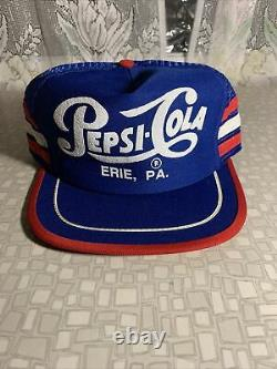 VTG Pepsi Cola 3 Stripe Snapback Mesh Hat Trucker Cap Erie PA Retro Made in USA