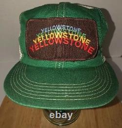 VTG YELLOWSTONE National Park 80s USA K-Brand Trucker Hat Cap Snapback RAINBOW