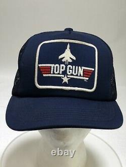 Vintage 1986 TOP GUN Snapback Trucker Hat Cap Blue Mesh Navy 1985 USA Maverick