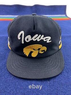 Vintage 3 STRIPE Trucker Hat Snapback Cap Yellow University Iowa Hawkeyes