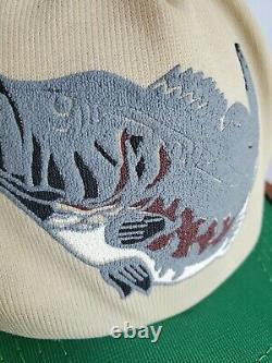 Vintage 3 Stripe Bar Trucker Hat Bass Fishing Snapback Green Mesh Cap See Desc