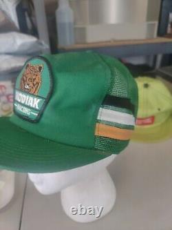 Vintage 3 stripe Kodiak Racing hat cap snapback mesh patch truckers K-Products