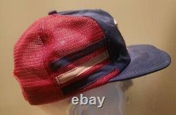 Vintage 70s 80s Gabriel Patch 3 Stripe Mesh Snapback Trucker Hat Cap Made In USA