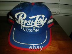 Vintage 70s 80s Pepsi Cola 3 Stripe Mesh Snapback Trucker Hat Cap USA Tucson