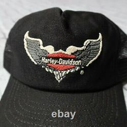 Vintage 70s Harley Davidson Wings Logo Mesh Trucker Snapback Hat Cap Made in USA