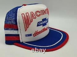 Vintage 80's Akron Chevrolet 3 Stripe Snapback Trucker Hat Cap Made In USA, NOS