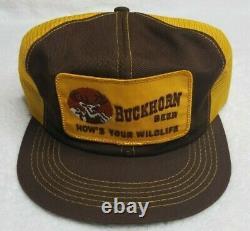 Vintage 80s Buckhorn Beer K-Products Big Patch Mesh Snapback Trucker Hat Cap