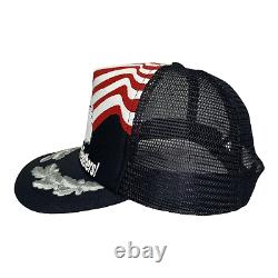 Vintage 80s Dont Ruffle My Feathers Eagle Flag USA Black Mesh Trucker Hat Cap
