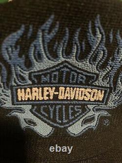 Vintage 80s Harley Davidson Flame Logo Snapback Trucker Hat Cap Made in USA-RARE