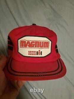 Vintage CASE MAGNUM Snapback Trucker Hat Three Stripe Mesh Patch Cap K Products